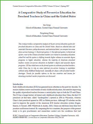 A Comparative Study of Pre-service Education for Preschool Teachers in China and the United States