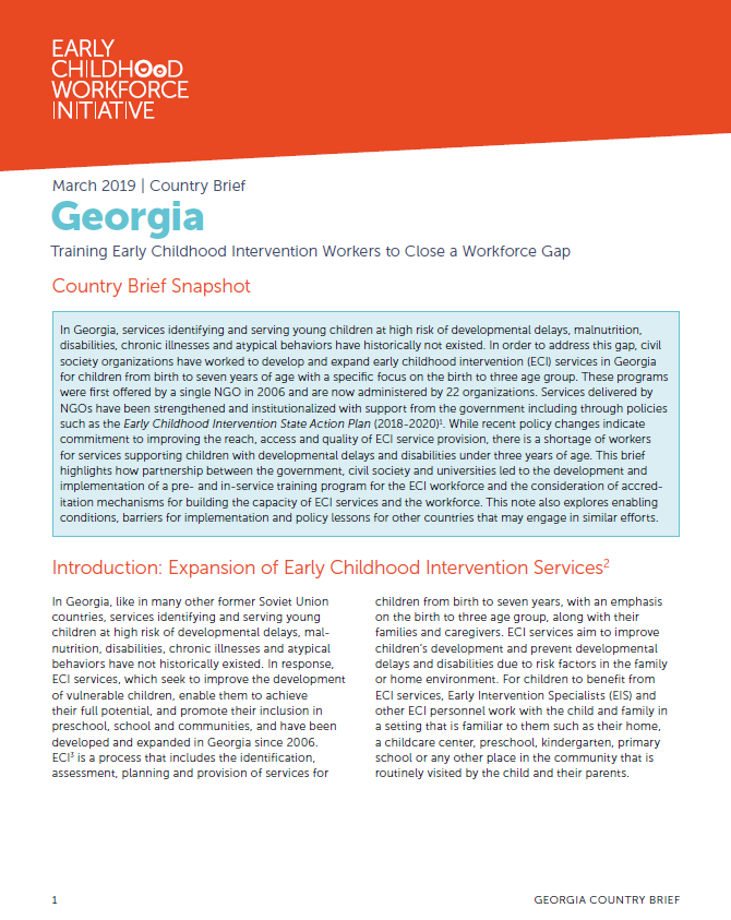 Training Early Childhood Intervention Workers to Close a Workforce Gap