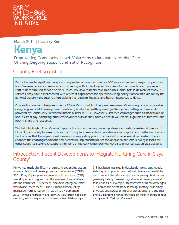 Empowering Community Health Volunteers to Integrate Nurturing Care