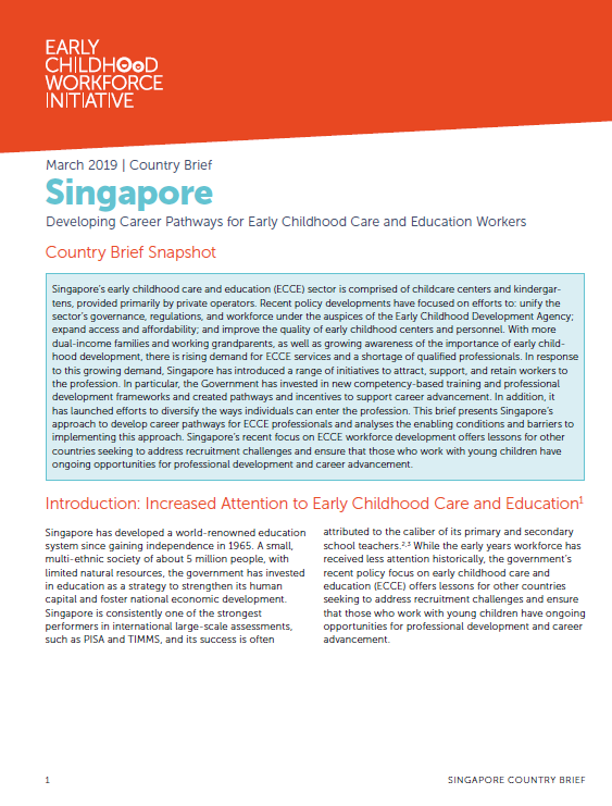 Developing Career Pathways for Early Childhood Care and Education Workers