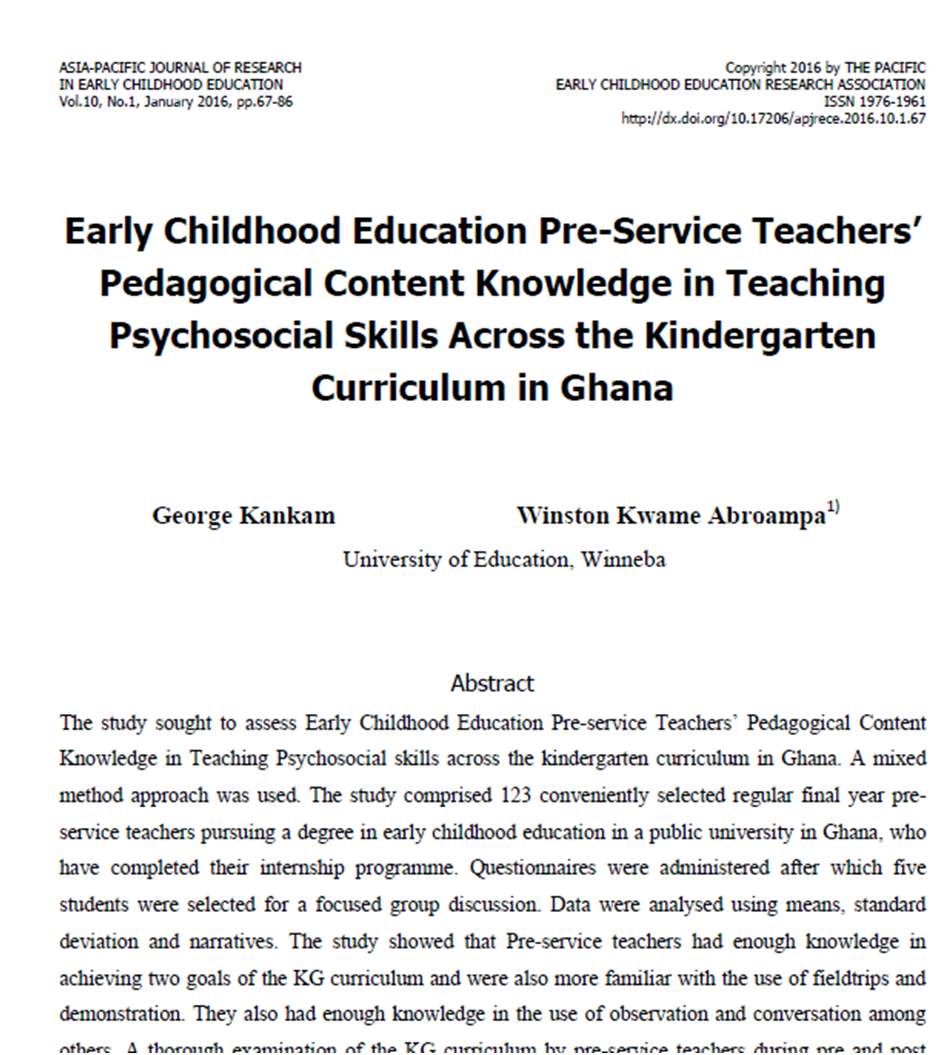 early childhood education pre