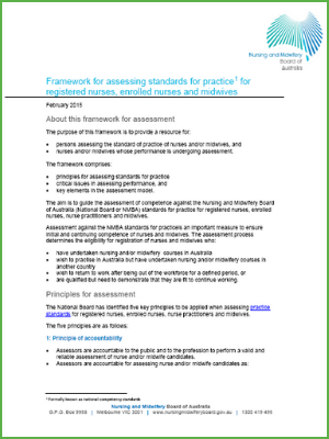 Framework for assessing standards for practice for registered nurses, enrolled nurses and midwives