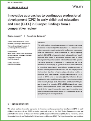 Innovative approaches to continuous professional development (CPD) in early childhood education and care (ECEC) in Europe Findings from a comparative review