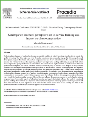 Kindergarten teachers in-service training and impact on classroom practice