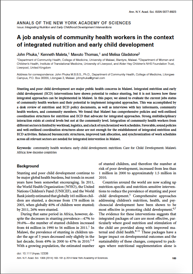 A job analysis of community health workers in the context of integrated nutrition and early childhood development