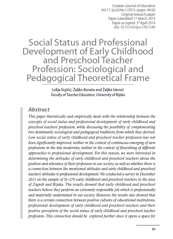 Social Status, Professional Development of Early Childhood and Preschool Teacher Profession