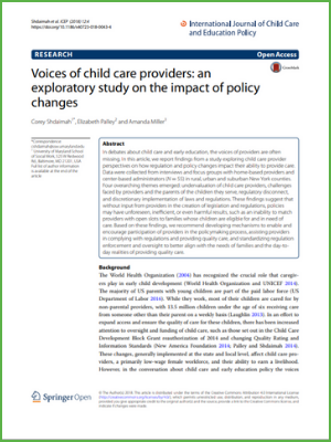 Voices of child care providers: an exploratory study on the impact of policy changes