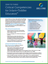 Critical Competencies for Infant-Toddler Educators Related Professional Criteria