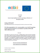 Recommendations for common policy across the EU regarding professional development as an element of quality in ECEC and child wellbeing for all