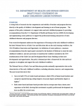 U.S. Department of Health and Human Services Draft Policy Statement on Early Childhood Career Pathways